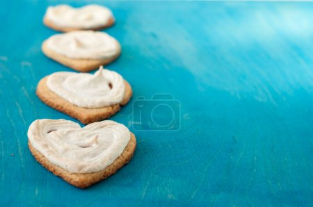 Photo for Homemade cookies heart on wooden blue background - Royalty Free Image
