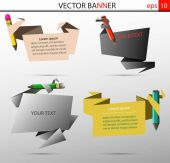 Set of vector banners in the form of sheets with crayons