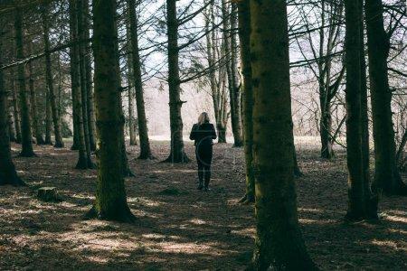 Photo pour Jeune femme blonde vêtue de toutes les promenades noires dans une forêt un jour de printemps ensoleillé - image libre de droit