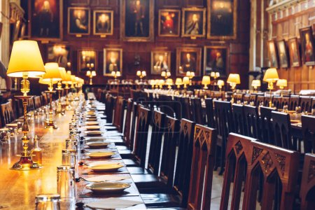 The Great Hall of Christ Church, University of Oxford set for dinner