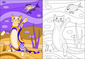 Cat reaches for the fish Color and black and white drawing for coloring book