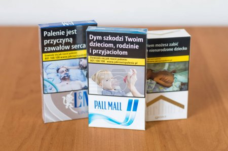 Deblin, Poland - April 18, 2018: Tree pack of cigarettes. L&M link blue, Pall Mall longs and Marlboro gold.