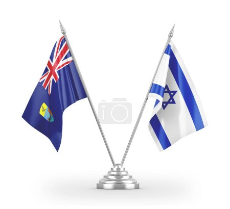 Photo pour Israel and Saint Helena table flags isolated on white background 3D rendering - image libre de droit