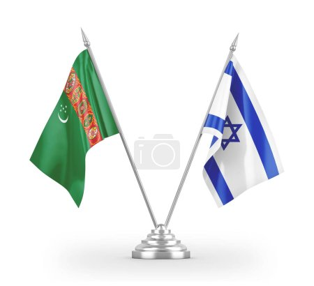 Photo pour Israel and Turkmenistan table flags isolated on white background 3D rendering - image libre de droit