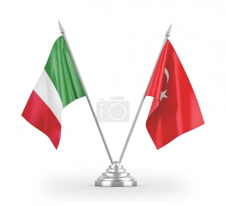 Photo pour Turkey and Italy table flags isolated on white background 3D rendering - image libre de droit