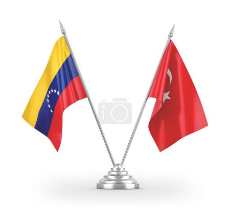 Photo pour Turkey and Venezuela table flags isolated on white background 3D rendering - image libre de droit