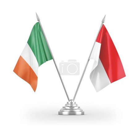 Photo pour Indonesia and Ireland table flags isolated on white background 3D rendering - image libre de droit