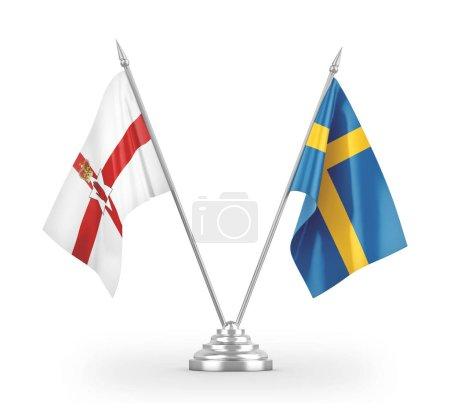 Photo pour Signaux de table de la Suède et de l'Irlande du Nord isolés sur fond blanc rendu 3D - image libre de droit