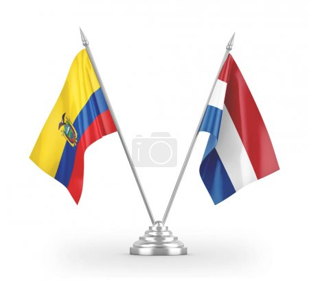 Photo pour Netherlands and Ecuador table flags isolated on white background 3D rendering - image libre de droit