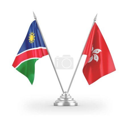 Photo pour Hong Kong and Namibia table flags isolated on white background 3D rendering - image libre de droit