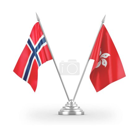 Photo pour Hong Kong and Norway table flags isolated on white background 3D rendering - image libre de droit