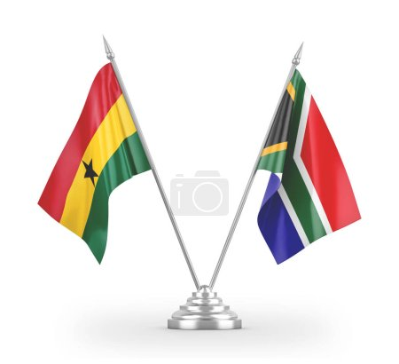Photo pour South Africa and Ghana table flags isolated on white background 3D rendering - image libre de droit