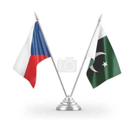 Photo pour Drapeaux Pakistan et République Tchèque isolés sur fond blanc rendu 3d - image libre de droit