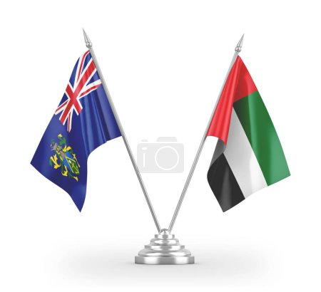 Photo pour United Arab Emirates and Pitcairn Islands table flags isolated on white background 3D rendering - image libre de droit