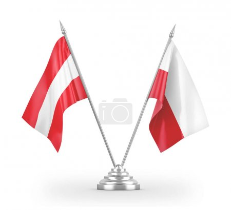 Photo pour Poland and Austria table flags isolated on white background 3D rendering - image libre de droit