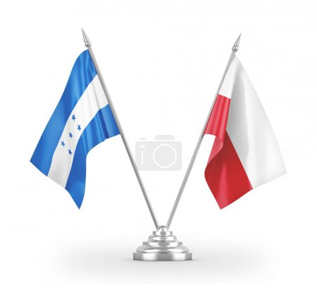 Photo pour Poland and Honduras table flags isolated on white background 3D rendering - image libre de droit