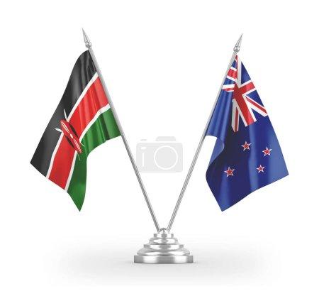 Photo pour Nouvelle-Zélande et Kenya drapeaux de table isolés sur fond blanc rendu 3d - image libre de droit