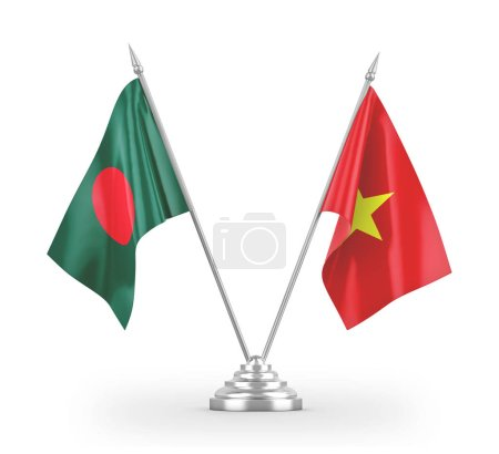 Photo pour Vietnam and Bangladesh table flags isolated on white background 3D rendering - image libre de droit