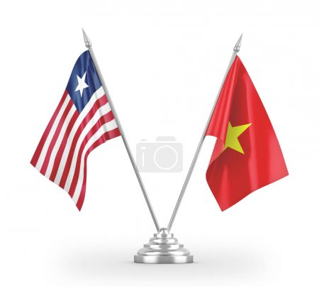 Photo pour Vietnam and Liberia table flags isolated on white background 3D rendering - image libre de droit