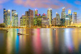 Panorama view of the financial district and business office building in singapore city