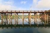The old wooden bridge Bridge collapse Bridge across the river and Wood bridge (Mon bridge )at sangklaburi, kanchanaburi, Province Asia thailand
