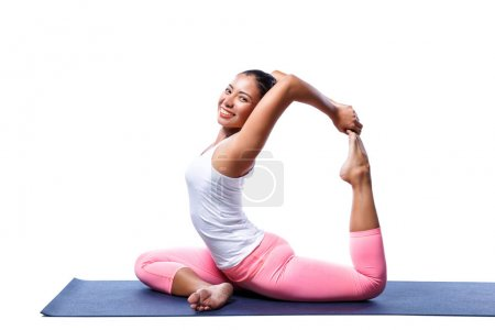 Photo for Young indian woman in yoga pose in white clothes isolated on white background. - Royalty Free Image