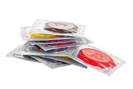 Condoms on a white background