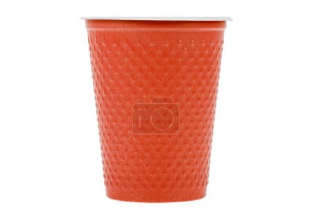 Red plastic cup isolated on a white background