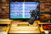condenser microphone on sound mixer background in broadcasting, recording, post production studio