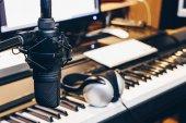 condenser microphone in music production, digital recording studio