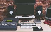 music production equipment in digital recording studio
