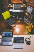 digital home studio, recording studio, post production, film editing studio, sound studio interior