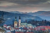 Cityscape of Banska Bystrica old town at winter sunset Slovakia