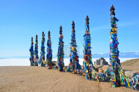 Lake Baikal, ritual pillars at Cape Burkhan on Olkhon island