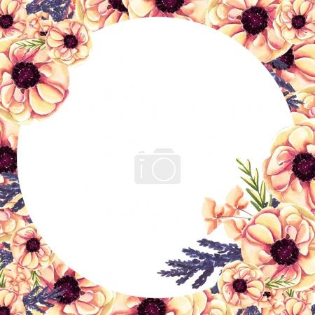 Background Of Flowers Watercolor Decoration