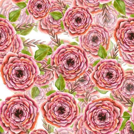Photo pour Motif floral sans couture avec des roses, illustration aquarelle - image libre de droit