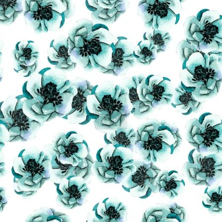 Photo for Floral seamless pattern with poppies, watercolor illustration - Royalty Free Image