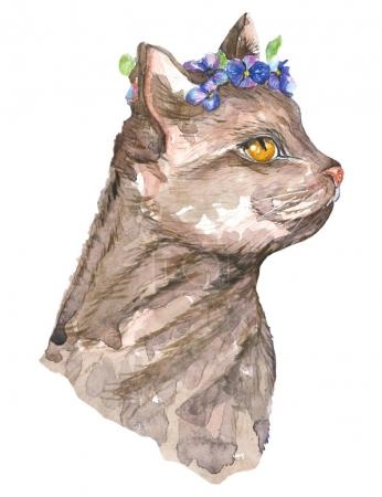 Watercolor Cat And Flowers