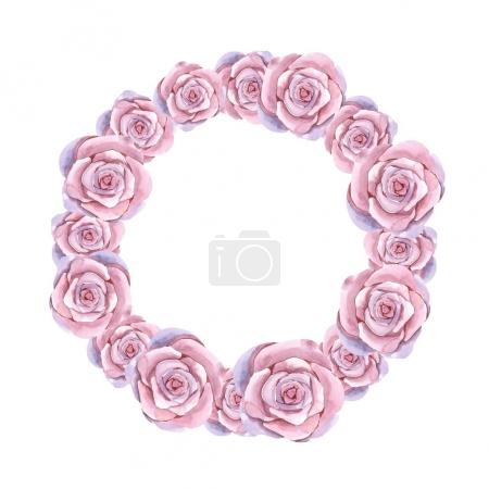 round floral frame with roses