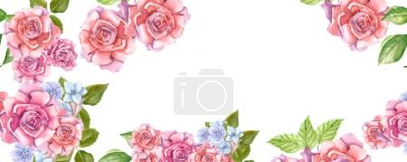 Pink Roses With Leaves