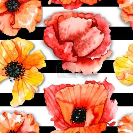 Photo pour Poppies Fleurs motif aquarelle - image libre de droit