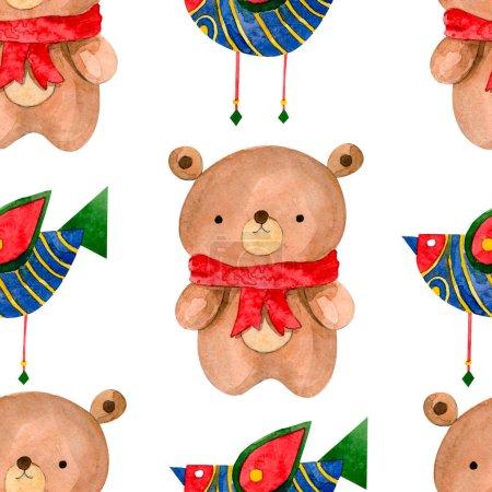 pattern with cartoon bear and bird