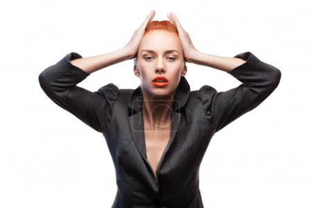 Beauty stylish redhead woman posing