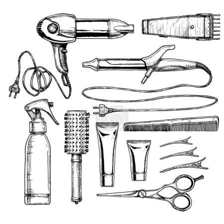 Vector hand drawn illustration of hair salon in vi...