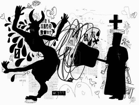 Illustration pour Une image symbolique, comme un prêtre orthodoxe bannissant le diable avec un gros balai - image libre de droit