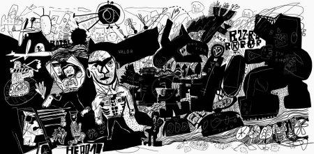 Illustration pour Image symbolique de la bataille, où les robots attaquaient les gens - image libre de droit