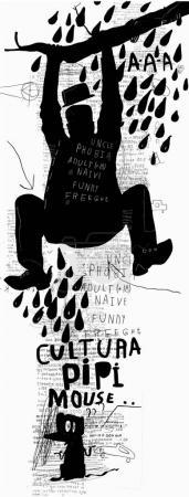 Illustration pour Une image symbolique d'un homme qui avait peur d'une souris et sautait sur un arbre - image libre de droit