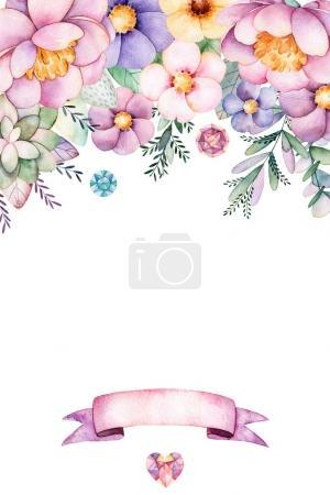 Photo pour Belle collection florale avec pivoine, fleurs, feuilles, branche, ruban et plus.1 beau bouquet pour votre conception et ruban inclus. Parfait pour le mariage, l'invitation, la carte de modèle, l'anniversaire et les cartes de bébé - image libre de droit