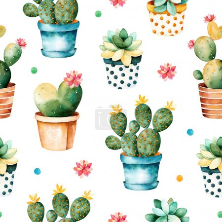 Colorful watercolor texture with cactus plant