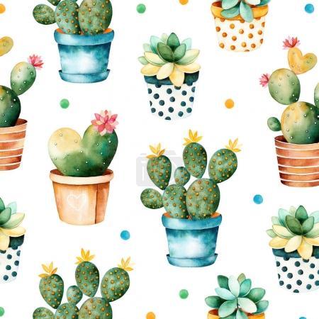 Photo pour Texture d'aquarelle coloré avec la plante de cactus et plantes succulentes en pot. Texture transparente avec main de grande qualité peintes aquarelles éléments. Parfait pour votre projet, la couverture, papier peint, motif, papier cadeau - image libre de droit